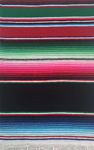 Siesta Mehrzweck-Serape, mexikanisches Serape, Tischläufer, kleine Decke, Schal, 140 x 60 cm, für Yoga, Meditation, Festivals, Picknick, Mehrfarbig Schwarz
