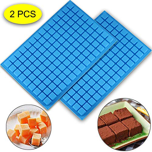 (2 PCS)126 Cavity Square Silicone Mold/Mini Candy Molds for Chocolate Gummy Ice Cube Jelly Truffles Pralines Caramels Ganache Random Color (11.53'x7.63'x0.47')
