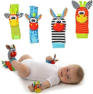 HUGGLER Foot Finders & Wrist Rattles for Infants Developmental Texture Toys for Babies & Infant Toy Socks & Baby Wrist Rat...