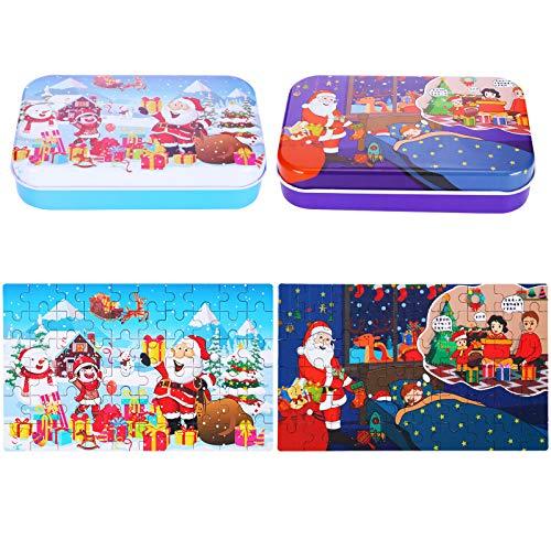 60 Pezzi Jigsaw Puzzle Natale Puzzle in Legno in Scatola Puzzle Fumetto Natalizi Puzzle Educativo di Natale Babbo Natale Neve Alce Giochi di Giocattoli per Amici di Famiglia, 2 Confezioni