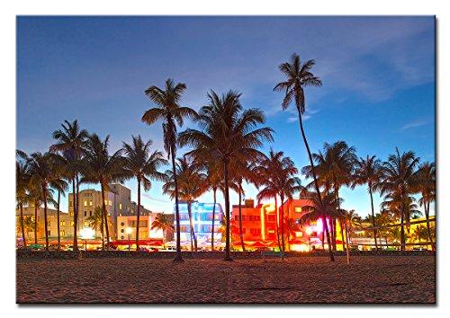 Berger Designs - Bild auf Leinwand als Kunstdruck in verschiedenen Größen. Wandbild Miami Beach Ocean Drive. Beste Qualität aus Deutschland (120 x 80 cm BxH)