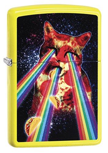Zippo Unisex aansteker Pizza Cat Winddicht Pocket Lighter Neon Yellow One Size