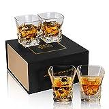 KANARS Verre a Whisky, Verres à Whiskey en Cristal, Belle Boîte Cadeau, 300ml, Lot de 4 Pièces