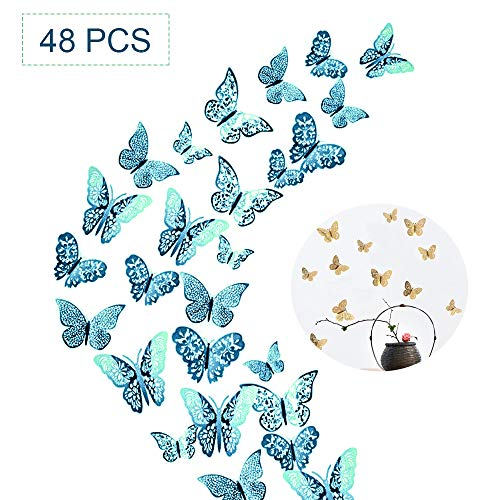 48pcs 3D Butterfly Removable Mural Stickers Hollow-Out Butterfly Wall Decals Decor DIY Wall Stickers for Bedroom Living Room Decoration (Indigo Blue)
