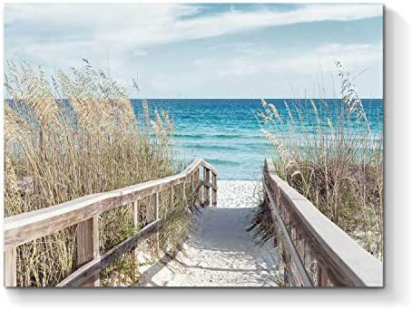 Beach Artwork Seascape Wall Art Seaside Painting Fence Pathway Picture Print on Wrapped Canvas product image