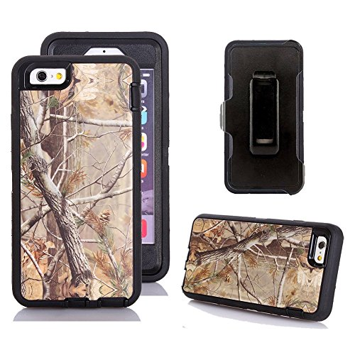 Kecko iPhone 6s Holster Case, Defender Tough Rubber Tree Camo Shockproof Impact Resistant Military Grade Heavy Duty Hybrid Rugged Full Body Built-in Screen Protector Case with Belt Clip for iPhone 6s