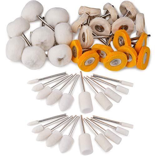 Felt Polishing Buffing Wheel Set, Wool Polishing Wheel, Point & Mandrel Kit Rotary Tools (Small)