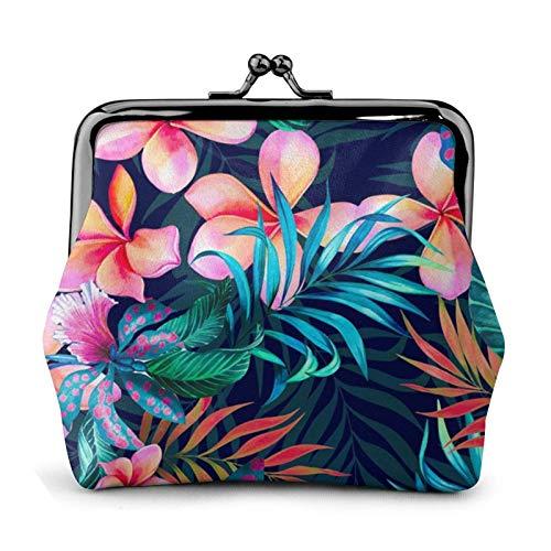 Flores tropicales impresas mini monedero pu cuero cartera embrague bolsa con cierre de bloqueo de beso