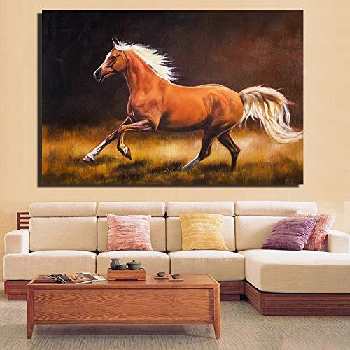 Paard Mercedes poster en print canvas olieverfschilderij impressionisme bruin paard woonkamer muur paard huis fotolijst frameloze schilderij 40x60cm