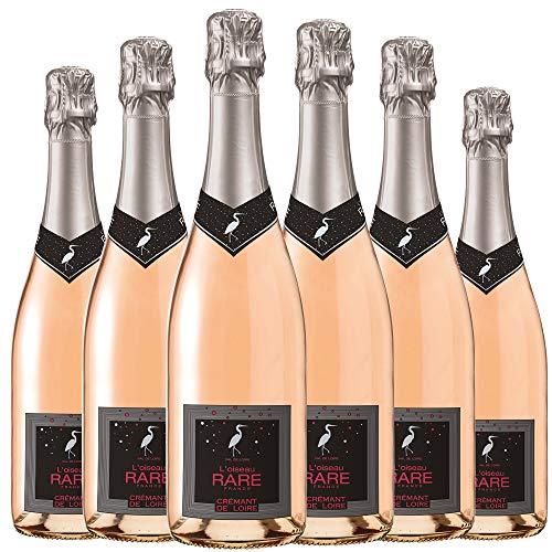 LOiseau Rare Crémant de Loire Brut Vin Rose Effervescent AOP 75 cl - Lot de 6