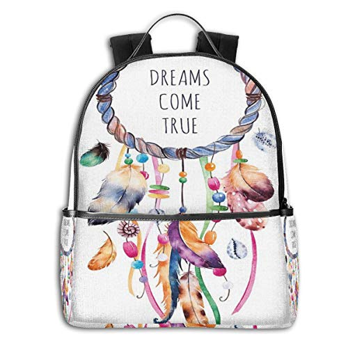 College Backpacks for Women Girls,Ethnic and Tribal Native American Dream Catcher Illustration Bohemian Style Image,Casual Hiking Travel Daypack
