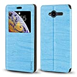 ZTE Blade L3 Case, Wood Grain Leather Case with Card Holder