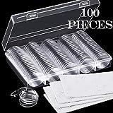 Cápsulas de monedas de 30 mm y 5 tamaños (17/20/25/27/30 mm) Estuche para monedas de protección con caja de organizador de almacenamiento para...