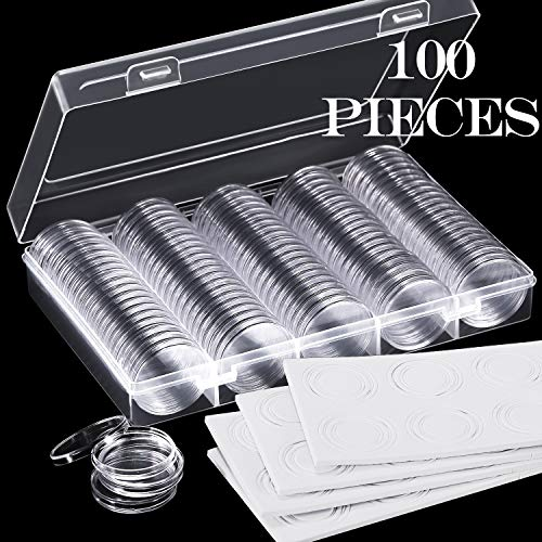 100 Pieces 30 mm Coin Capsules and 5 Sizes (17/20/ 25/27/ 30 mm) Protect Gasket Coin Holder Case with Storage Organizer Box for Coin Collection Supplies (Black) (White)