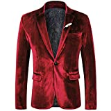 WEEN CHARM Men's Velvet Suit Jacket One Button Slim Fit Velvet Blazer Sports Coats Red