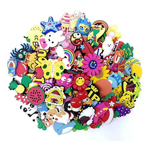 100 Pcs Different Shoe Charms for Shoe & Wristband Bracelet Decoration, Party Gift for Kid and Teens