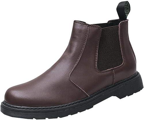 BAACHANG botas Cortas De Chelsea para Hombre botas Martin botas De Cuero Casuales Zapaños De Hombre