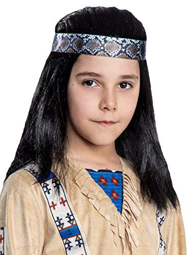 Maskworld Winnetou Perücke für Kinder - Indianer Western - Lizenz-Kostüme aus den Karl-May-Filmen für Karneval und Motto-Party