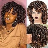 Gusif Dreadlock Wig for Black Women 2021 New Roll Short Curly Braided Twist Wigs Fashion Synthetic Curly Braided Wigs Black Hair (T1B30)