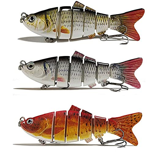 3 Pieces Artificial Lures Bass Fishing Lures Sinking Lure Fishing 394 Inch Durable Lifelike Multi Jointed Fishing Lures for Bass Trout Walleye Pike Perch 3 Styles