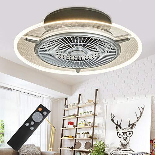Ventilador de techo Jasemy con iluminación, luz LED, regulable, ultrasilencioso, se puede temporizar, lámpara moderna para salón, dormitorio, ventilador con mando a distancia, 48 W