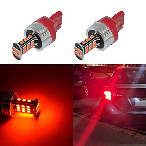 Alla Lighting Super Bright 7440 7443 Red LED Bulbs 1000 Lumens LED 7440 7441 7443 Bulb High Power 3020 30-SMD 7440 7443 LED Light Bulb for Cars Trucks Turn Signal Brake Stop Tail Light Replacement