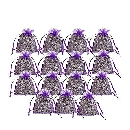 Saquitos de lavanda Feng con flores de lavanda natural – Saquitos aromáticos para relajarse y dormir – Protección antipolillas para armario – contra polillas en el armario