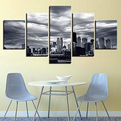 Cuadro En Lienzo Arte De 5 Piezas Impresion en Calidad fotografica impresión artística Imagen gráfica Decoracion de Pared Ciudad de Nubes oscuras - 200x100cm Marco