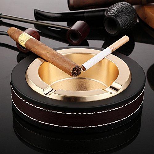 Luxus-Zigarren-Aschenbecher aus Edelstahl und Leder für drinnen und draußen goldfarben
