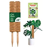 Perfin 30 Inches Coir Totem Pole- 2 Pcs 15 Inches Coir Moss Pole with 65 Feet Garden Twist Tie for Plant Support Extension, Suitable for for Creepers Plant Support Extension, Climbing Indoor Plants