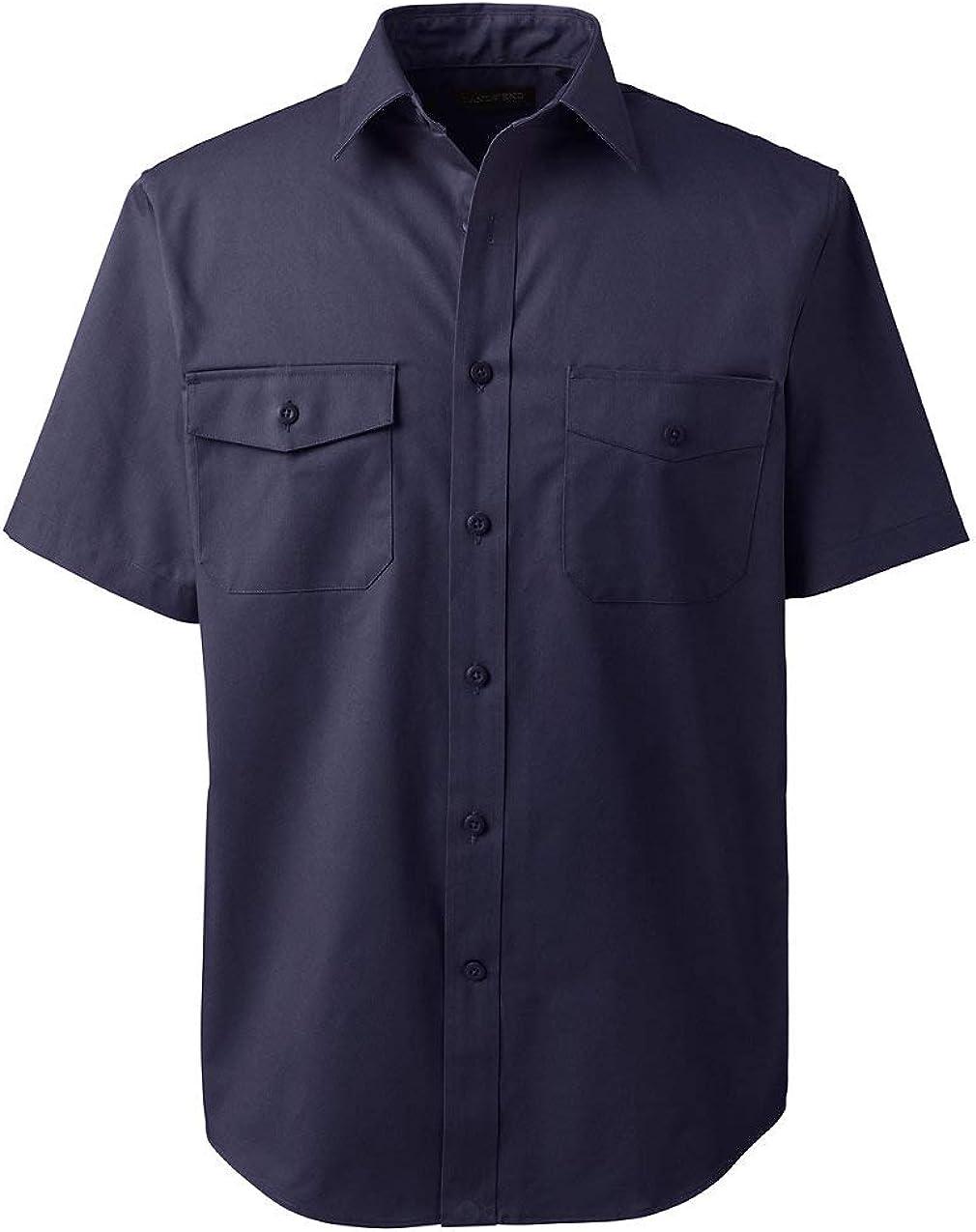 Lands' End Men's Short Sleeve Straight Collar Work Shirt