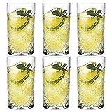 UNISHOP Set de 6 o 12 Vasos de Agua Altos, Vasos de Cristal de 45cl, Aptos para Lavavajillas y Microondas