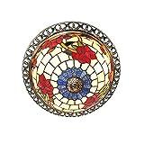 LINSLBFD Tiy Lámpara de Techo de Estilo Rural, Accesorio de Cocina, patrón de Flores, vitral, Pantalla, lámpara de Techo de Montaje Empotrado, para Comedor, Sala de Estar (11.8 Pulgadas)