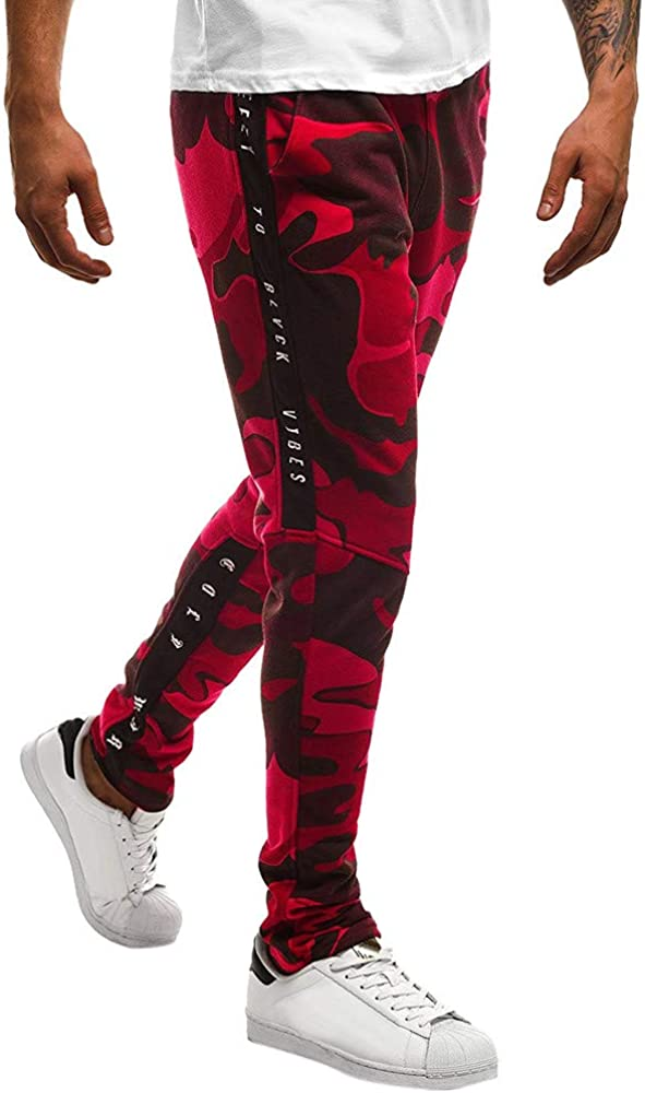 F/_Gotal Men/'s Big and Tall Camouflage Print Elastic Waist Sports Jogger Pants Trouser with Pockets Mens Sweatpants