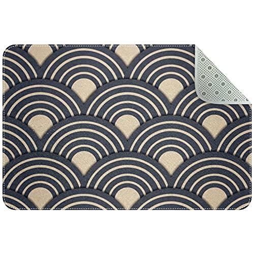 Alfombra para Sala de Estar, tapete para Interiores, para Toda la decoración del hogar, 31 'x 20', ondulación de Olas de mar Azul Marino japonés