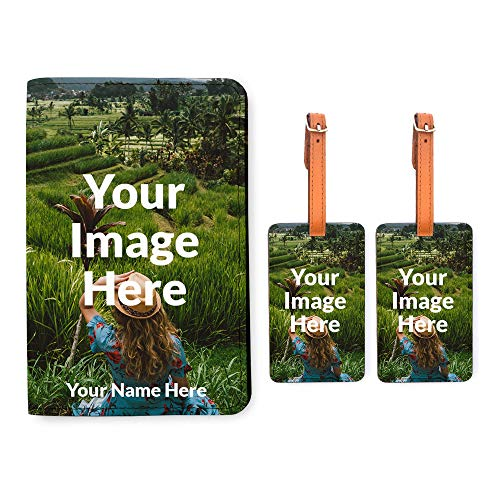 Personalized RFID Passport Holder 2 Matching Luggage Tag Set - Your Photo Here