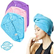 SOFTOWN Microfiber Hair Drying Towel Wrap Super Absorbent for Women with Short Hair (9 x 12 inch, Purple-Short-2 Pack)