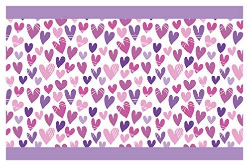 dekodino Kinderzimmer Bordüre Borte Herzen in Violett Mädchenzimmer Wanddeko