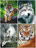 ArterCraft 4 Packs DIY 5D Diamond Painting, Wolf and Tiger Round Full Drill Animal Diamond Painting for Home Wall Decor (12x16 inch)