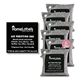 Charcoal Bags Odor Absorber- Activated Charcoal Air Purifying Bag - Charcoal Bags for Mold and Mildew -Pet odor absorber-Charcoal Bags for Home, Shoe, Car -Bamboo Charcoal Bags with Hook Rings-6x200gm