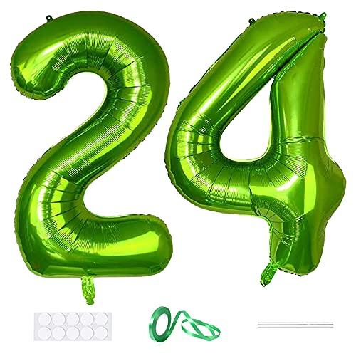 Xihuimay Globos numéricos 24 globos de 101,6 cm con alfabeto digital de 24 cumpleaños Globos de helio, globos grandes para fiestas de bodas, despedidas de soltera, soltera, número verde 24