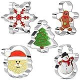 Olywee 5 Piezas de Cortadores de Galletas Navideñas con Formas de Copo de Nieve, árbol de Navidad, Hombre de Jengibre, Cara de Santa y Muñeco de Nieve