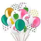 Paquete de 60 Globos de Fiesta Tropical de Hawaii, 12 Pulgadas Flamingo Piña Hoja Tropical Puntos Redondos Globos de Fiesta de Látex con Puntos para Hawaii Decoraciones de Fiesta Cumpleaños Boda