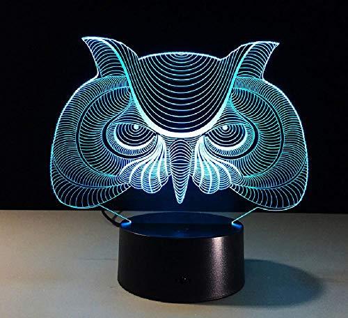 Lámpara de ilusión 3D Control remoto Luz de noche Búho Pájaro Animal Predator Máscara 3D Lámpara Acrílico Placa Base Táctil Hogar Dormitorio Decoración 7 Colores Atmósfera Iluminación USB Luz de noche