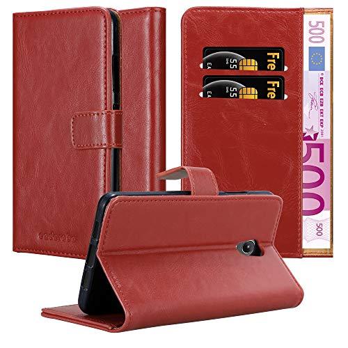 Cadorabo Hülle für Lenovo P2 - Hülle in Wein ROT – Handyhülle im Luxury Design mit Kartenfach & Standfunktion - Hülle Cover Schutzhülle Etui Tasche Book