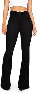 Vibrant Women's Juniors Bell Bottom High Waist Fitted Denim Jeans,Jet Black Denim,15
