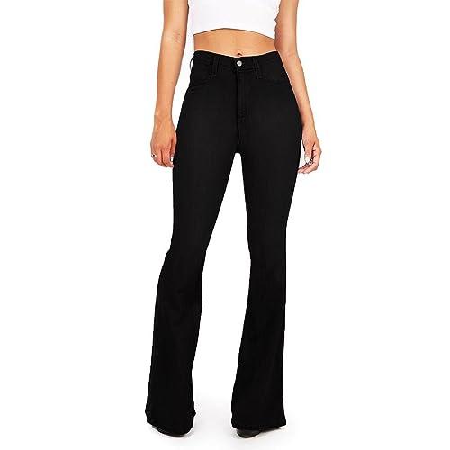 a220e8cb91368b Vibrant Women's Juniors Bell Bottom High Waist Fitted Denim Jeans
