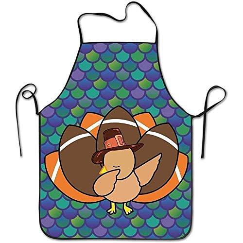 Mesllings Thanksgiving Türkiye Kreativer Druck Neue Küchenschürze für Damen und Herren Verstellbares Nackenband Restaurant Home Chef Bib Schürze für Kochen BBQ Grill