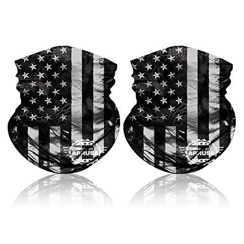 ARRUSA American Flag Face Mask,Reusable Neck Gaiter for Men&Women&Kids,Breathable Cooling Cloth Mask for Dust&UV Protection (2pcs-Grey)