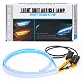 CoCsmart Flexible Car Led Light Strip, Dual Color 2 Pcs 24 Inches DRL LED Headlight Surface Strip Tube Light Daytime Running White & Amber Waterproof Switchback Sequential Lamp Turn Signal Light